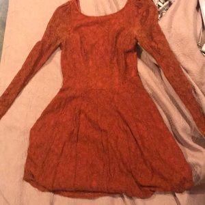 Orange lace long sleeve autumnal ModCloth dress